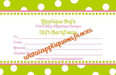 Applique Cafe gift cert 400